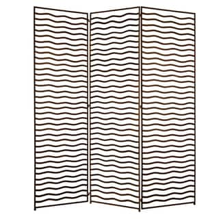 Handmade Minka 3-panel Open Wave Metal Screen (China)