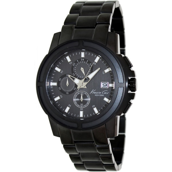88de8f83654b Shop Kenneth Cole Men s Black Stainless Steel Quartz Watch with Black Dial  - Free Shipping Today - Overstock.com - 8134807