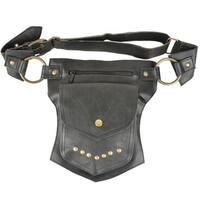 Handmade Black Single-pocket Leather Fanny Pack (India)