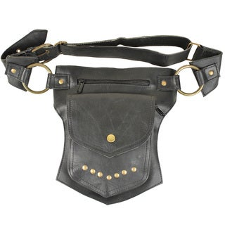 Handmade Black Single-pocket Leather Fanny Pack (India)