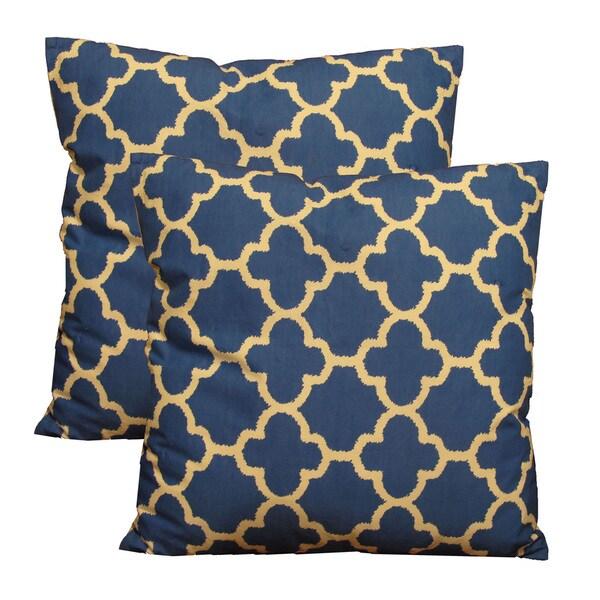 """EORC Cotton Blue BlueWhite Trellis 18-inch Decorative Cotton Pillows (Set of 2) Rug (18"""" x 18"""")"""