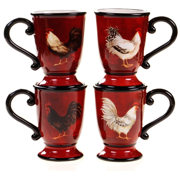 Certified International Avignon Rooster Mugs Set Of 4