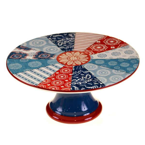 Certified International Americana Rooster Cake Stand