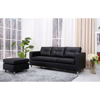 Detroit Black Convertible Sectional Sofa Ottoman