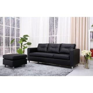 Detroit Black Convertible Sectional Sofa Ottoman