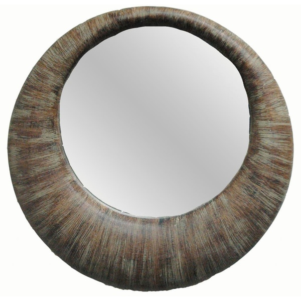 Shop Contemporary Weathered Round Framed Mirror Free