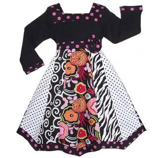 AnnLoren Girls Boutique Floral Zebra Polka-dot Panel Party Dress