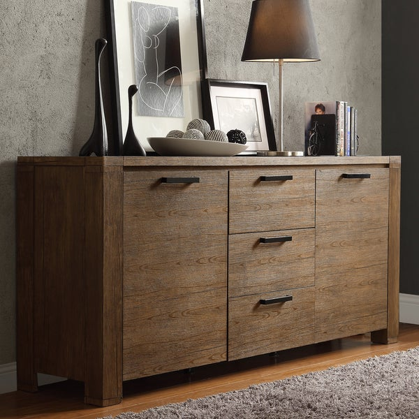 Catalpa Walnut Finish Weathered Sideboard by iNSPIRE Q Classic