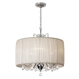 TRIBECCA HOME Silver Mist Hanging Crystal Drum Shade Chandelier ...