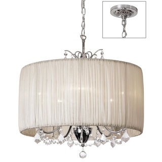 Chic 5-Light Crystal Chandelier with Oyster Pleated Drum Shade