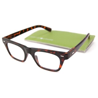 Gabriel + Simone Readers Men's/ Unisex Lyon Rectangular Reading Glasses with Metal Temple Accents - Brown (More options available)