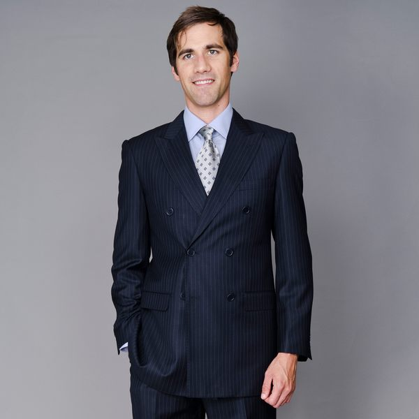 Men's Navy Stripe Double Breasted Suit - Free Shipping Today ...