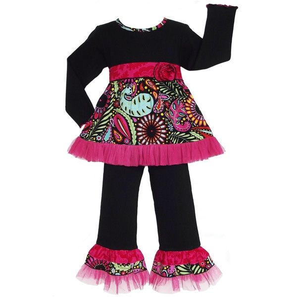 AnnLoren Girls Boutique Floral Paisley Tulle Set