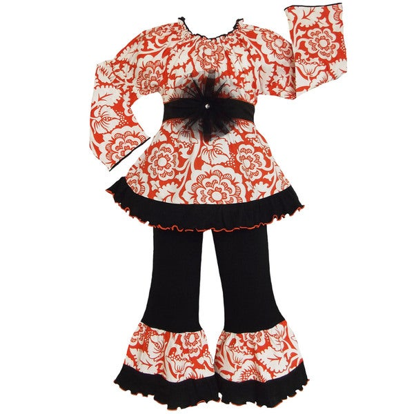 Boutique AnnLoren Girls Orange Blossom 2-piece Outfit