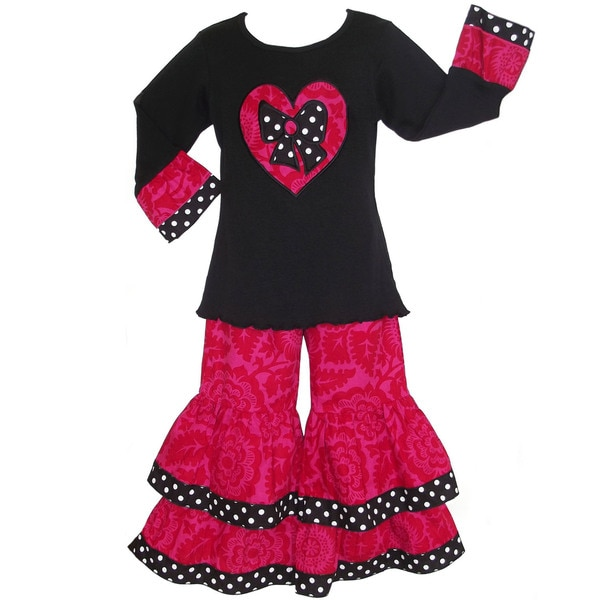 AnnLoren Girls Boutique Pink Floral Heart Outfit