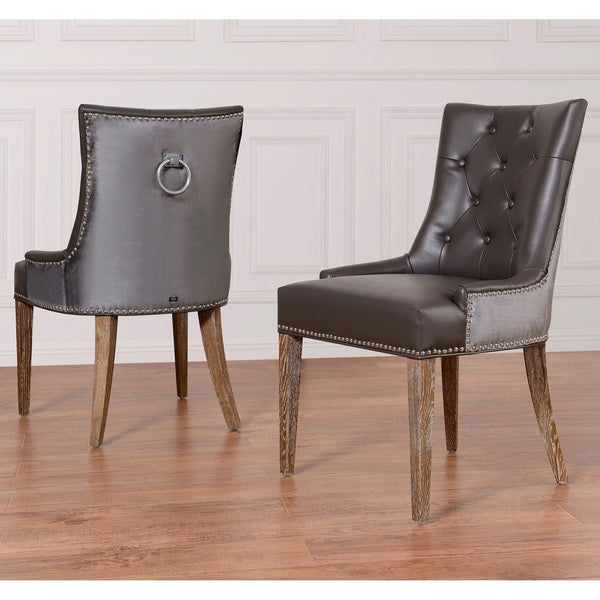 Porter Leather Chair Set Of 2: Shop Uptown Leather/ Velvet Dining Chair (Set Of 2)