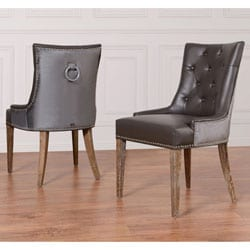 Uptown Leather/ Velvet Dining Chair (Set of 2)