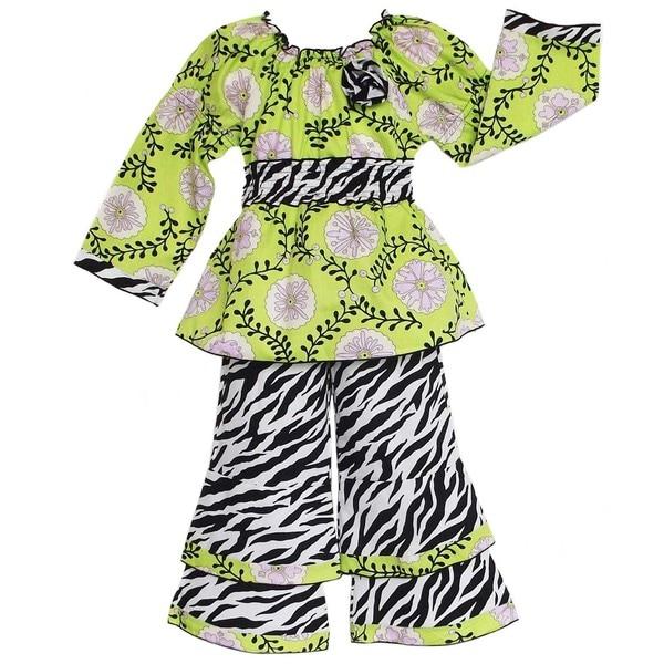 AnnLoren Boutique Girls Floral Vine/ Zebra 2-piece Outfit