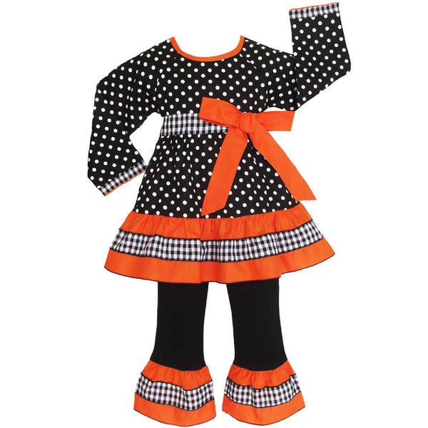 AnnLoren Girls Cotton Black/ Orange Polka-dot 2-piece Set