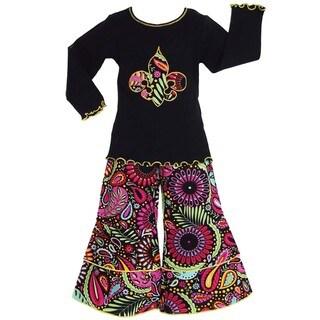 AnnLoren Girls Boutique Saints Floral Fleur de Lis Outfit