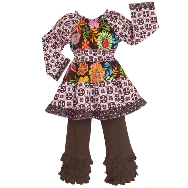 AnnLoren Girls Cotton Fall Floral/ Geometric Print 2-piece Set