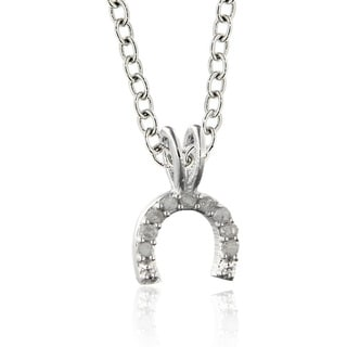 Finesque Sterling Silver Diamond Accent Horseshoe Necklace