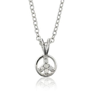 Finesque Sterling Silver Diamond Accent Peace Sign Necklace