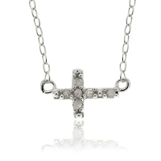 Finesque Sterling Silver Diamond Accent Sideways Cross Necklace