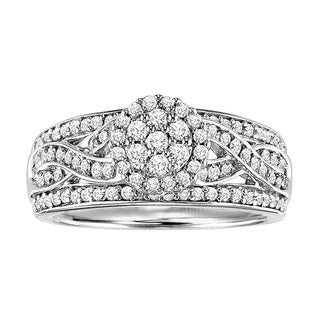 Cambridge Sterling Silver 3/4ct TDW Diamond Braided Engagement Ring