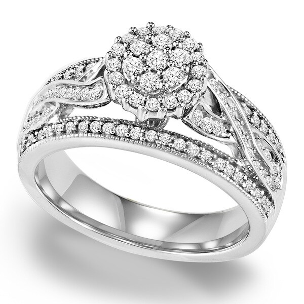 Shop Cambridge Sterling Silver 3/4ct TDW Diamond Braided Engagement