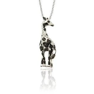 Finesque Silverplated Diamond Accent Giraffe Necklace