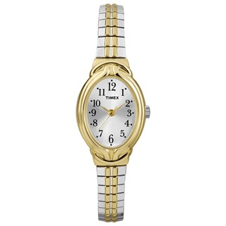 Timex T2N9809J Women's Elevated Classics Oval Two-Tone Expansion Band Dress Watch