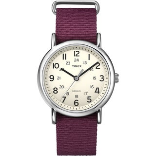 Timex T2P2359J Unisex 'Weekender' Dark Red Slip-Thru Nylon Strap Watch