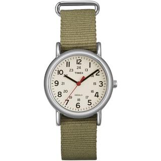 Timex T2P2289J Women's 'Weekender' Olive Slip-Thru Nylon Strap Watch