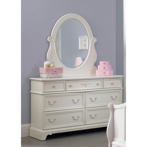 Arielle Antique White Wood Dresser And Mirror Set Free
