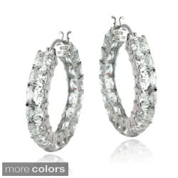 Icz Stonez Sterling Silver or Gold Over Silver Asscher-Cut Cubic Zirconia Hoop Earrings