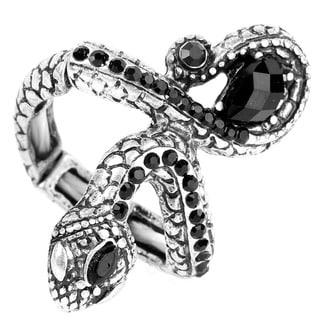Silvertone Black Crystal Antiqued Snake Stretch Ring