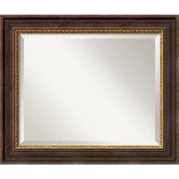 Wall Mirror, Veneto Distressed Black Wood - Black/Gold