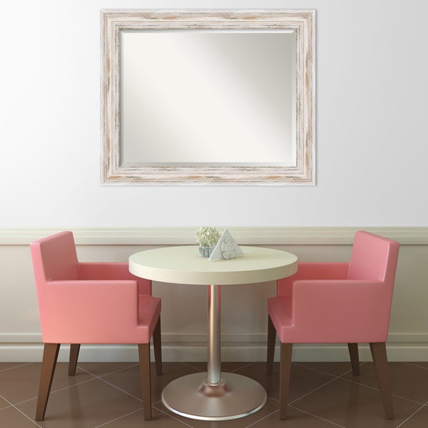 Alexandria Whitewash Large Wall Mirror Free Shipping