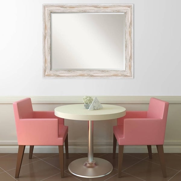 Wall Mirror Large, Alexandria White wash 33 x 27-inch