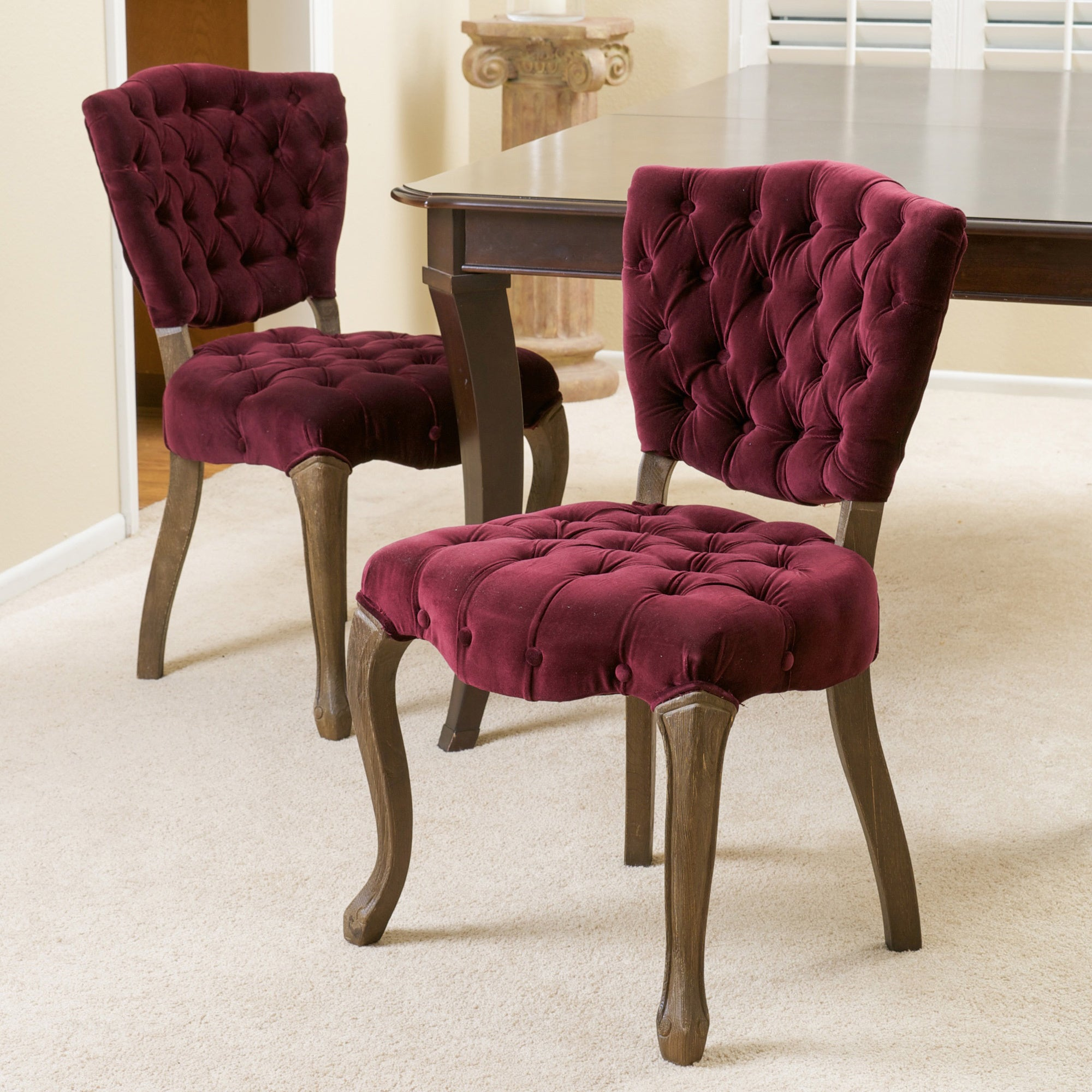 Shop Bates Tufted Dark Purple Fabric Dining Chairs Set Of