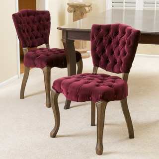 Bates Tufted Dark Purple Fabric Dining Chairs (Set of 2) by Christopher Knight Home