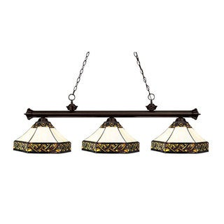 Tiffany-style 3-light Bronze Billiard Fixture