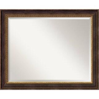 Wall Mirror Large, Veneto Distressed Black 33 x 27-inch - Black/Brown/Gold - large - 33 x 27-inch