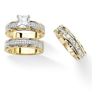 3.10 TCW Princess-Cut Cubic Zirconia 14k Gold-Plated Wedding Ring Set Classic CZ