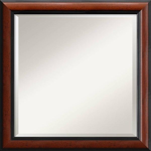 Wall Mirror Square, Regency Mahogany 24 x 24-inch