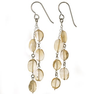 Ashanti Sterling Silver Citrine Dangle Handmade Earrings (Sri Lanka)