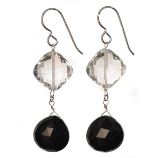 Ashanti Sterling Silver Black Onyx and Rock Crystal Gemstone Dangle Handmade Earrings (Sri Lanka)