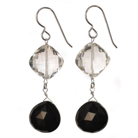 Black Onyx and Rock Crystal Gemstone Dangle Handmade Earrings