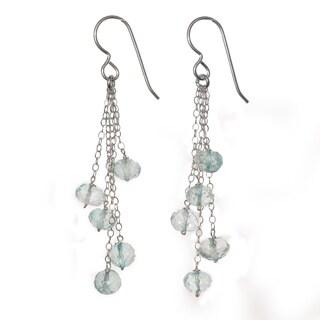 Ashanti Sterling Silver Blue Quartz Dangle Handmade Earrings (Sri Lanka)